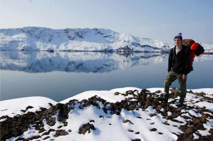 Gregor doing fieldwork in Askja